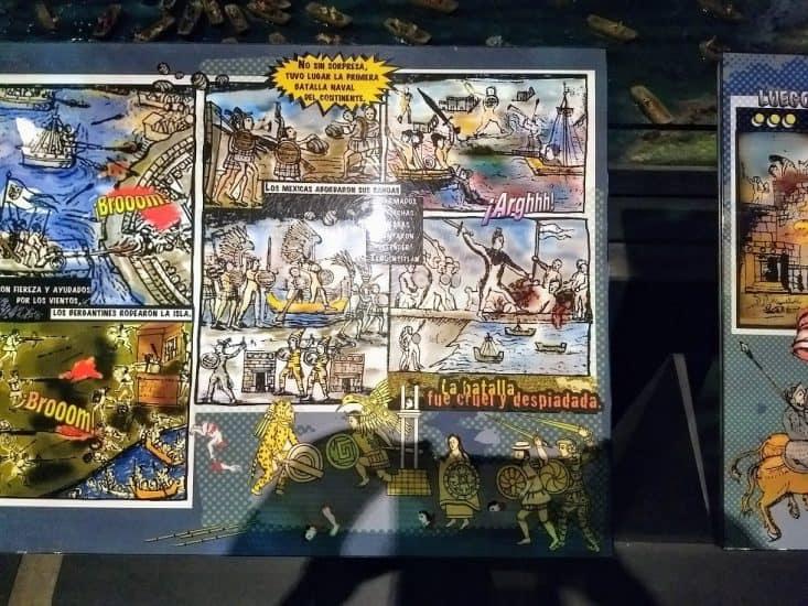 Comic que relata la conquista española en el museo naval de veracruz