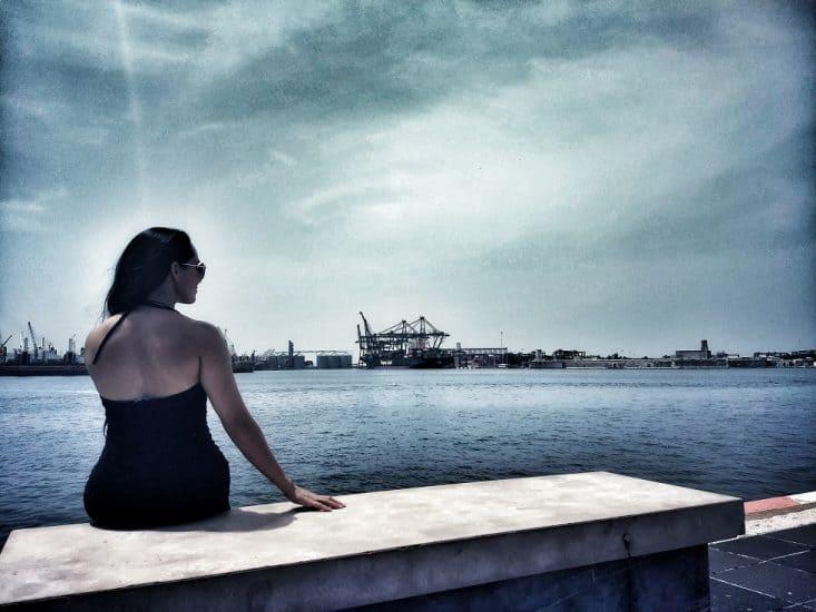 Vista hacia el mar en el Malecón de Veracruz