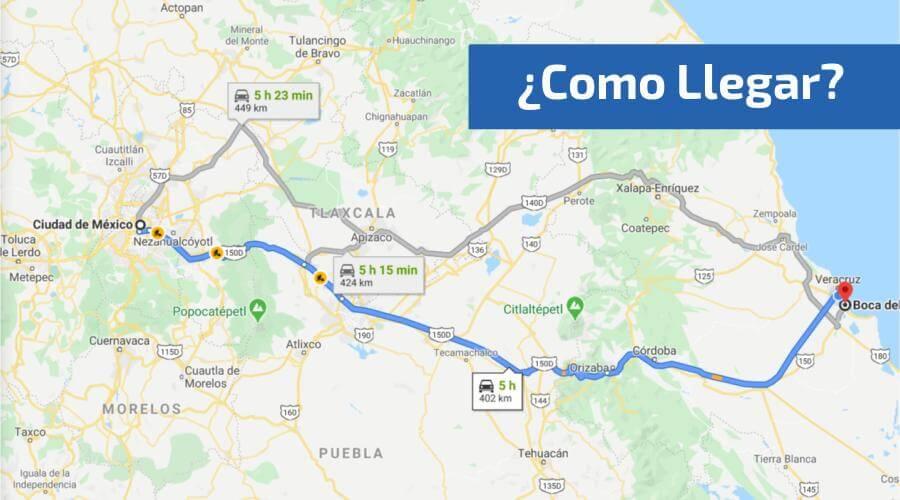 mapa para llegar a boca del río desde CDMX