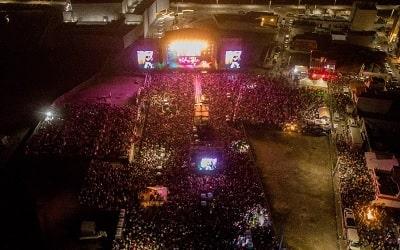 vista aerea del concierto del festival de la salsa en boca